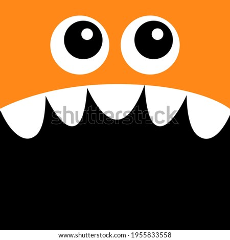 Monster head. Boo Spooky Screaming face emotion. Two eyes, teeth fang, mouse. Square head. Cute cartoon character. Happy Halloween card. Flat design. Orange color. Black background template. Vector Foto d'archivio ©