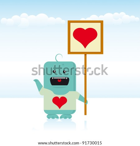 Monster love. A blue monster love an alien girl. It's Valentine's Day !!!!