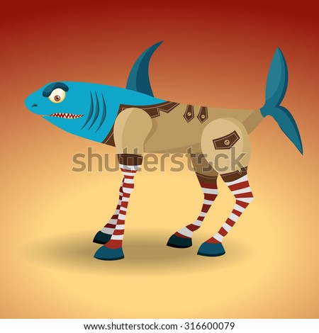 Monster mix. Animals horse and sharks. Dressed in a coat of the original design. Flat cartoon characters. EPS10 vector illustration.