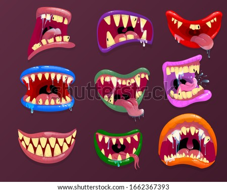 Monster mouths. Funny facial expression, open mouth with tongue and drool.