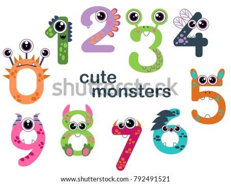 monster numbers set cute