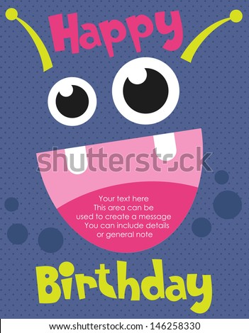 monster party card design vector illustration