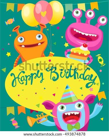 Monster Party Invitation Card Design Vector Cartoon Illustration