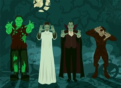 monster set Halloween theme background Frankenstein, Dracula, Bride, Werewolf trees, roots, pumpkins, fog and a full moon (set 1/2)
