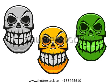 Monster skull in cartoon style for halloween design Jpeg bitmap version also available in gallery