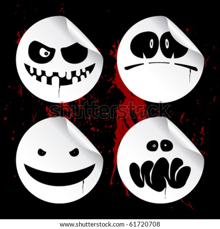 Monster smileys on black blood background, set of halloween wicked stickers.