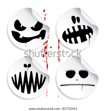 Monster smileys on blood background, set of halloween stickers.
