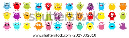 Monster super big icon set. Happy Halloween. Funny head face colorful silhouette. Cute cartoon kawaii baby character. Eyes horn teeth fang tongue. Hands up, down. Flat design. White background. Vector