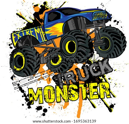 Monster Track car typography print. Vector illustration,  boys background  For print, baby clothes, t shirt, child or posters