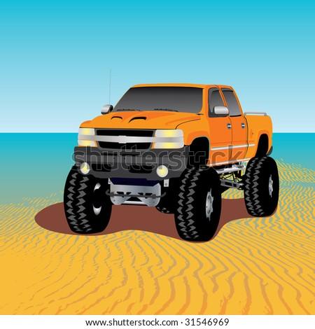 monster truck on the beach, vector illustration