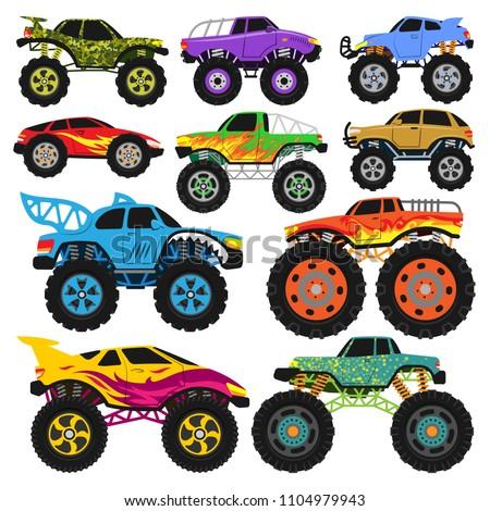monster truck vector cartoon