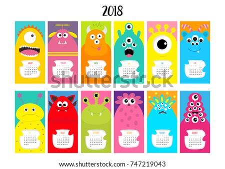 Monster vertical monthly calendar 2018. Cute funny cartoon character set. All month. Flat design. Vector illustration