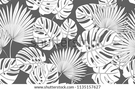 Monstera and palm tree. Big leaves and exotic flowers composition. Vector illustration. Botanical seamless wallpaper. Digital nature art. Cartoon style sketch. Grey background.