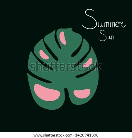 Monstera deliciosa. Monstera summer. Fresh. Vector illustration.