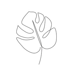 Monstera leaf line art. Contour drawing. Minimalism art. Modern decor.