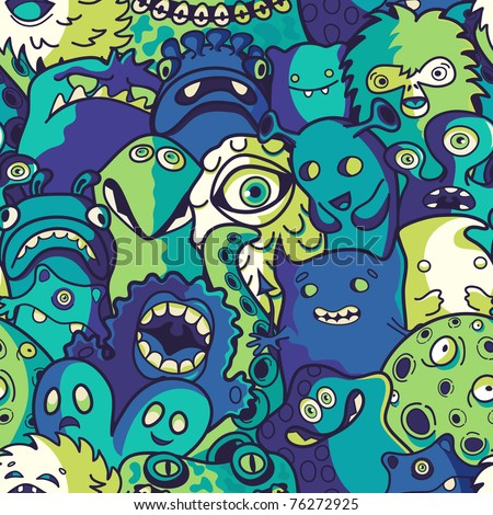 Monsters and cute alien - seamless pattern - stock vector