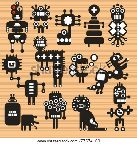 Monsters and robots collection #17. Vector illustration.