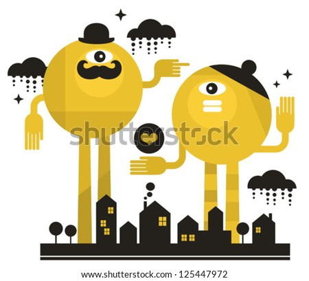 monsters in the city vector
