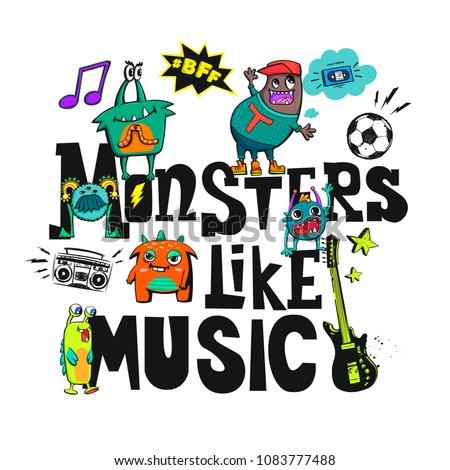 monsters like music t shirt