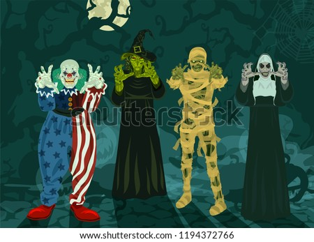 monsters set halloween 4