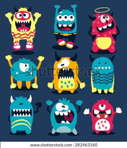 Stock Photo monsters vector set
