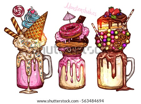 Monstershakes In Color Sketch Style. Freak And Crazy Milkshakes. Hand Drawn Creative Dessert