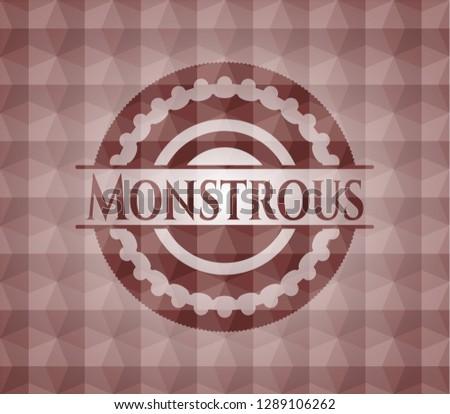 Monstrous red seamless geometric pattern emblem. Seamless.