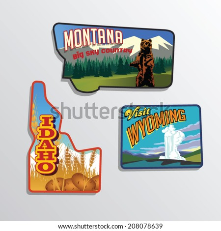 Montana, Idaho, Wyoming, United States vector illustrations
