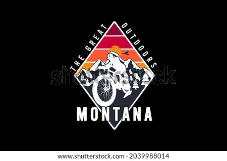 Montana the great outdoors,t-shirt merchandise v mockup typography [Converted] Stock fotó ©