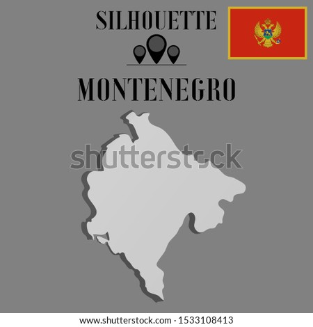 Montenegro outline world map silhouette vector illustration, creative design background, national country flag, objects, element, symbols from countries set.