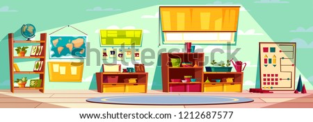 Montessori kindergarten playroom, elementary school class, kid room interior cartoon vector illustration with toys, teaching materials, books on rack, world map on wall and round carpet on floor