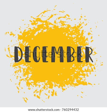 Month December, Yellow Vector Image. The word December is in Native Decoration. For Your Design, Calendar, Events, Congratulations.