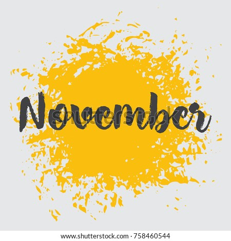 month november yellow vector image the word november is in native