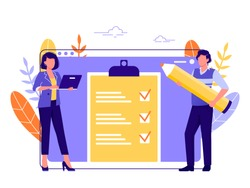 Month planning, to do list, time management. Woman and man standing near large computer monitor and working with data. Flat concept vector illustration, isolated on white