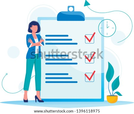 Month planning, to do list, time management. Woman is standing near large to do list. Plan fulfilled, task completed. Flat concept vector illustration, isolated on white