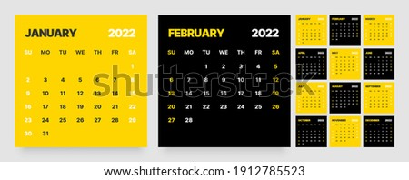 Monthly calendar template for 2022 year. Week Starts on Sunday. Wall calendar in a minimalist style. Square shape.