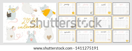 Monthly creative calendar 2020 cute hand drawn rat.  Concept, vector vertical editable template. Symbol of the year in the Chinese calendar. Cartoon. Isolated. Vector illustration. Vector A4