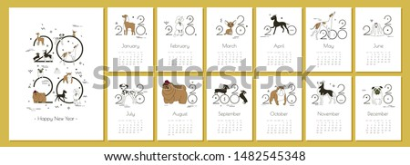 Monthly Creative Calendar 2020 with dog breeds for dog breeders and dog lovers. Concept, vector editable template. Minimal, memphis style, sketch, drawing. Isolated A4 pages. Vector illustration