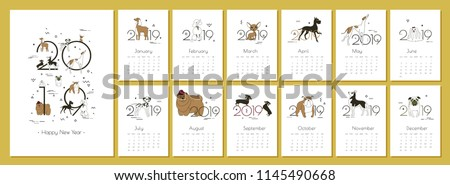 Monthly creative calendar 2019 with dog breeds for dog breeders and dog lovers Yellow - the color of the year in the Chinese calendar Concept, vector editable template Minimal Memphis Vector A4