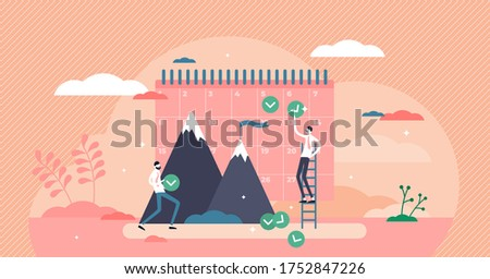 Monthly goals vector illustration. Flat tiny people make a control plan concept. Business profit result forecast schedule with day table. Effective calendar method for employee target report and fulfillment