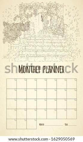 Monthly planner. City sketching. Line art silhouette. France, Saint-Paul-de-Vence. Tourism concept. Sketch style vector illustration.