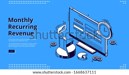 Monthly recurring revenue, mrr isometric landing page. Computer desktop with budget or payment calculator on screen, clock, coins and graphs around. Earning analysis 3d vector line art web banner