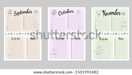 Monthly sheets of business plans and habits for the fall months of September, October and November. List to do