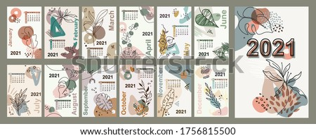 Monthly wall 2021calendar floral line art vector leaves background, printable creative template with floral elements
