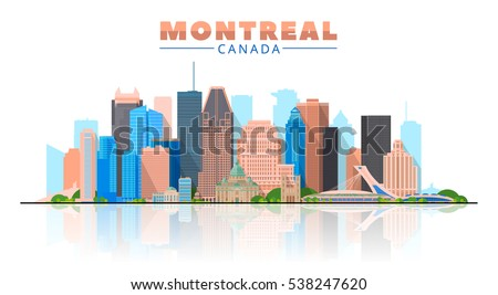 Montreal (Canada) skyline with panorama in white background. Vector Illustration. Business travel and tourism concept with modern buildings. Image for presentation, banner, placard and web site