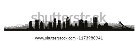 Montreal city, Canada skyline. Cityscape panoramic silhouette with famous buildings. Canadian landmarks. Urban architectural landscape.