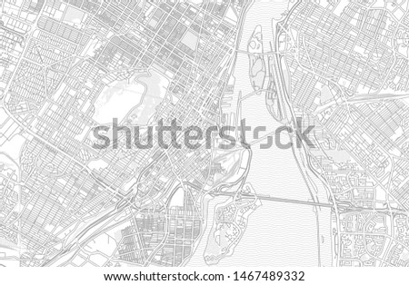 Montreal, Quebec, Canada, bright outlined vector map with bigger and minor roads and steets created for infographic backgrounds.