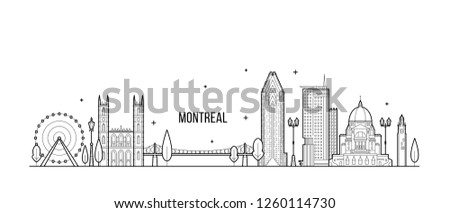 Montreal skyline, Canada. This illustration represents the city with its most notable buildings. Vector is fully editable, every object is holistic and movable