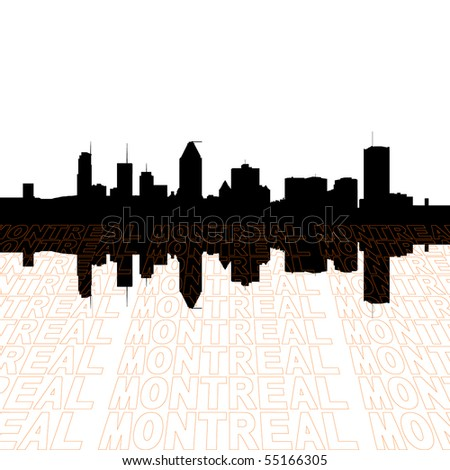 Montreal skyline with perspective text outline foreground
