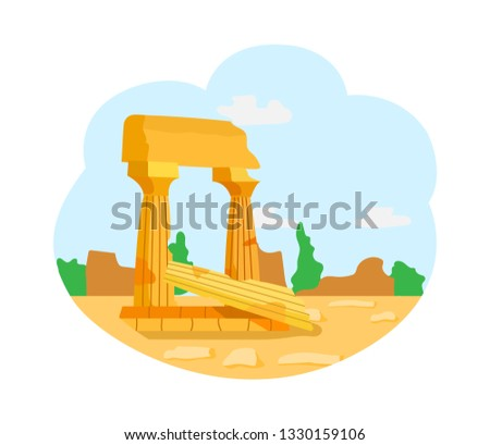 Monument of old city vector, isolated remains of great civilization. Architectural exploration of unknown place, medieval historical past architecture